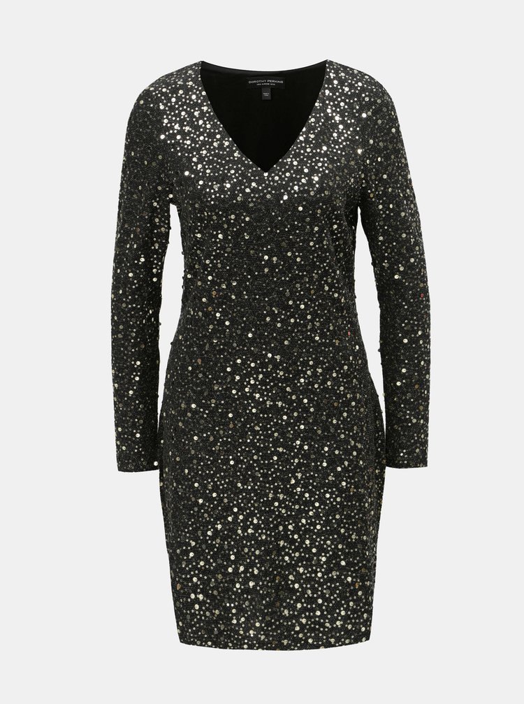 Černé pouzdrové šaty s flitry ve zlaté barvě Dorothy Perkins