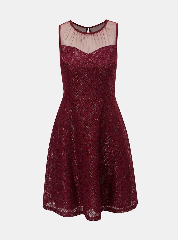 Vínové čipkované šaty s priesvitným detailom Dorothy Perkins
