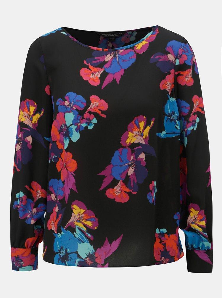 Bluza neagra florala cu suprapunere la spate Dorothy Perkins