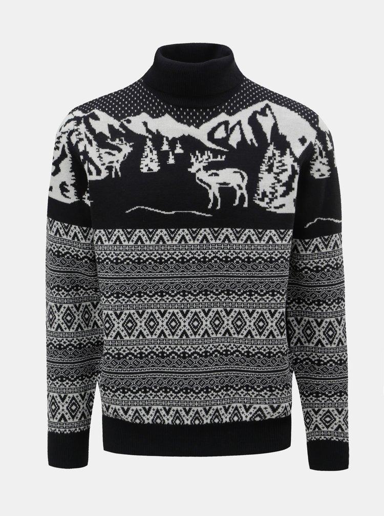 Bielo–modrý sveter s vianočným motívom a rolákom Burton Menswear London
