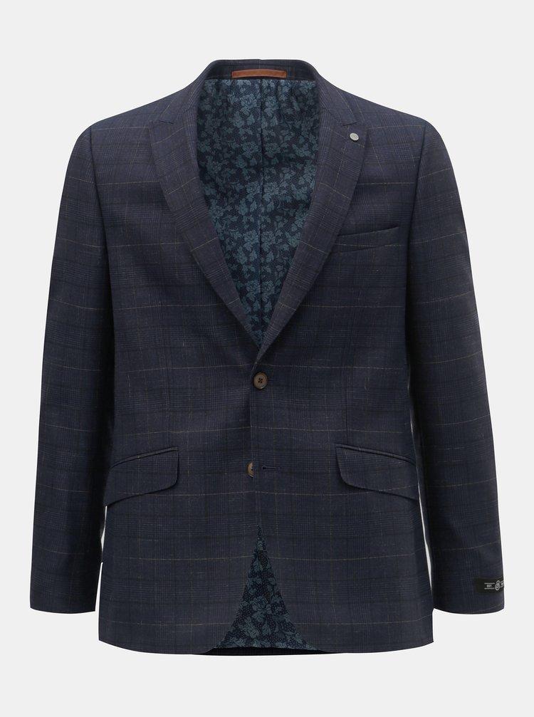 Tmavě modré kostkované oblekové slim fit sako Burton Menswear London