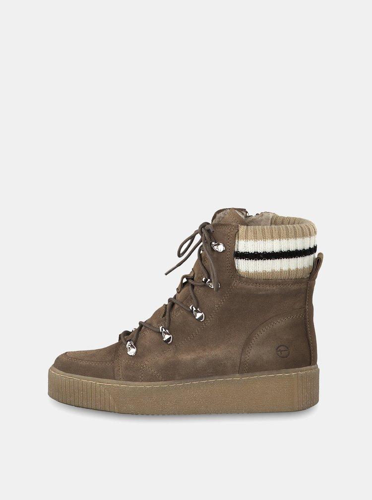Béžové semišové kotníkové zimní boty na platformě Tamaris