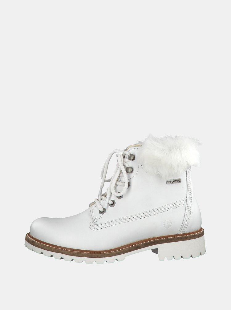 Ghete albe impermeabile de iarna din piele cu dublura din lana Tamaris