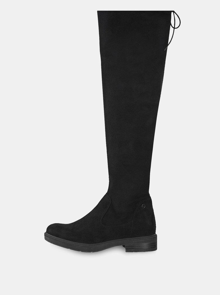 ... Čierne vysoké čižmy v semišovej úprave Tamaris fb2ae86a523