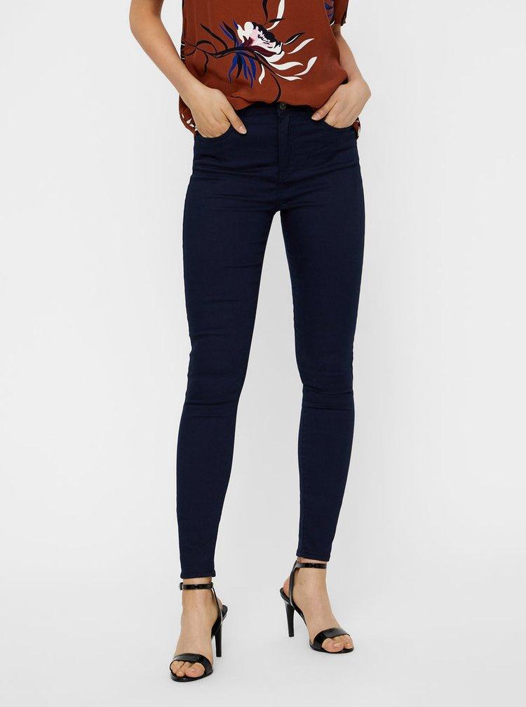 Tmavě modré zkrácené skinny džíny VERO MODA