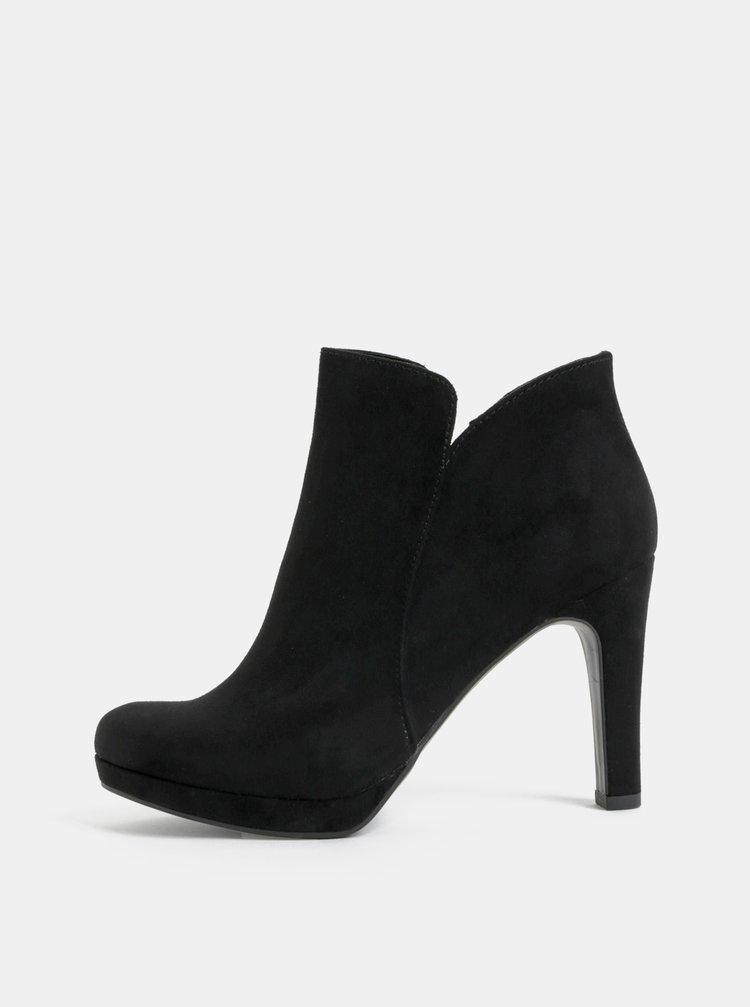 Černé kotníkové boty v semišové úpravě na vysokém podpatku Tamaris ... 9cc6842c2e