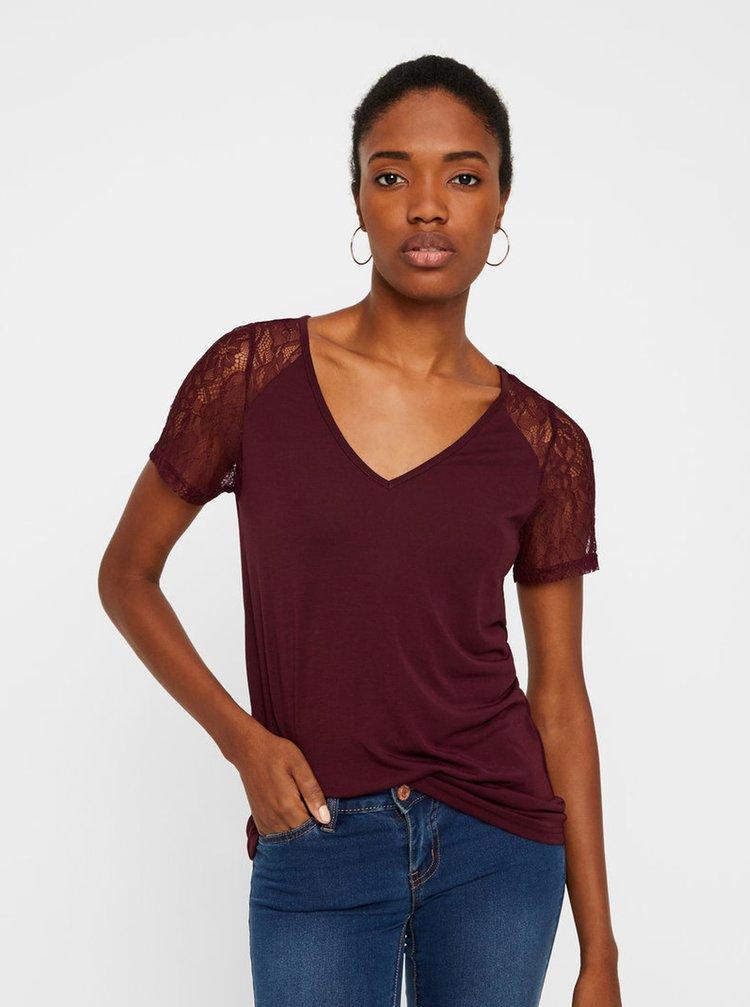 Vínové tričko s krajkou VERO MODA Tille