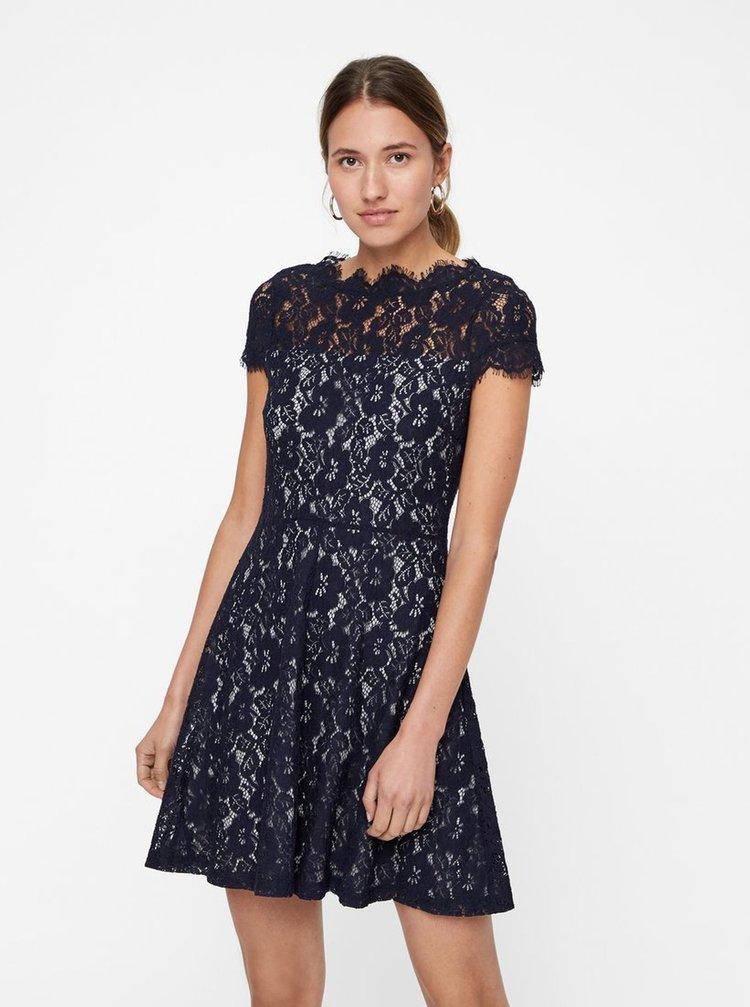 1557c82d1 Sivo–modré čipkované šaty s krátkym rukávom VERO MODA Jackie | ZOOT.sk