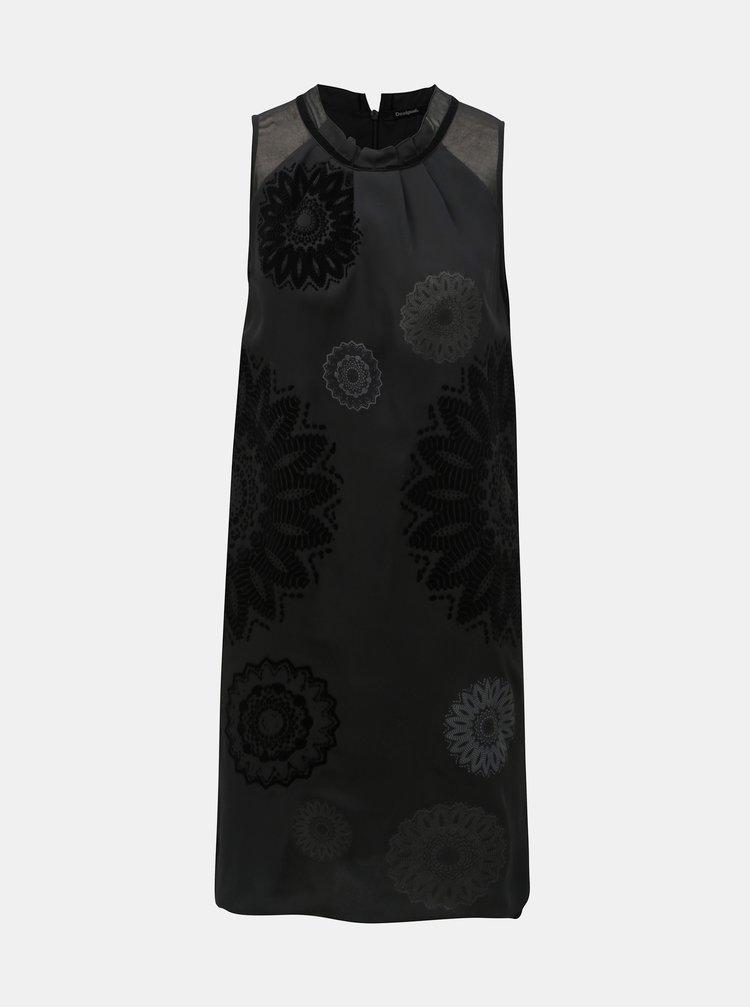 Čierne vzorované šaty s priesvitnými detailmi Desigual Zagreb