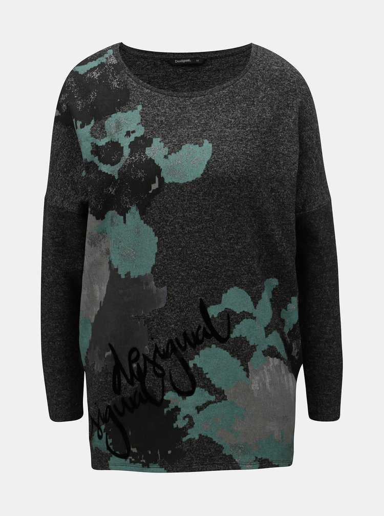 Šedý volný lehký svetr s potiskem Desigual Kunik