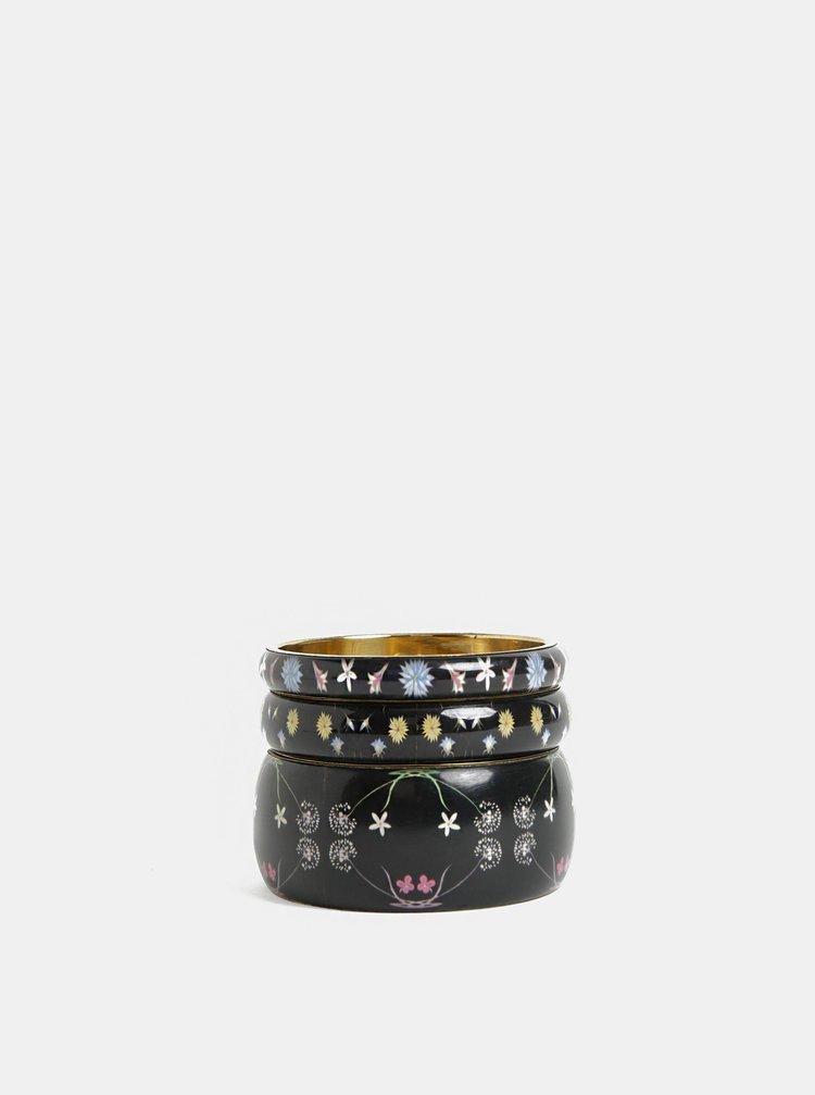 Sada tří náramků v černé barvě Desigual Romantic Flowers