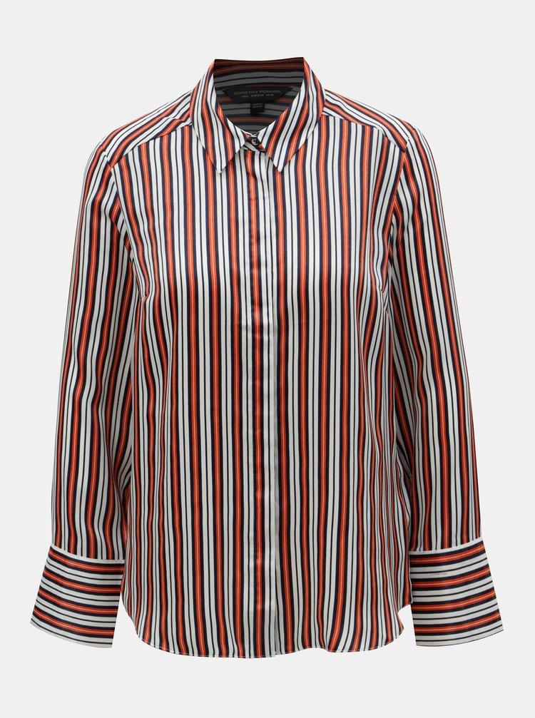 Bílo-oranžová pruhovaná košile Dorothy Perkins
