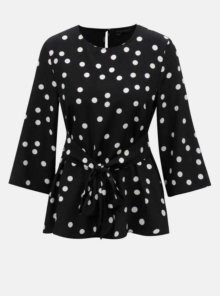 Bluza negru-alb cu buline si snur Dorothy Perkins