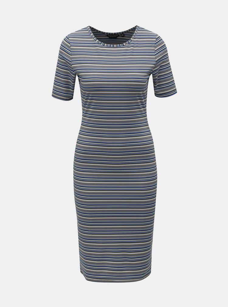 Modré pruhované šaty s krátkým rukávem Dorothy Perkins