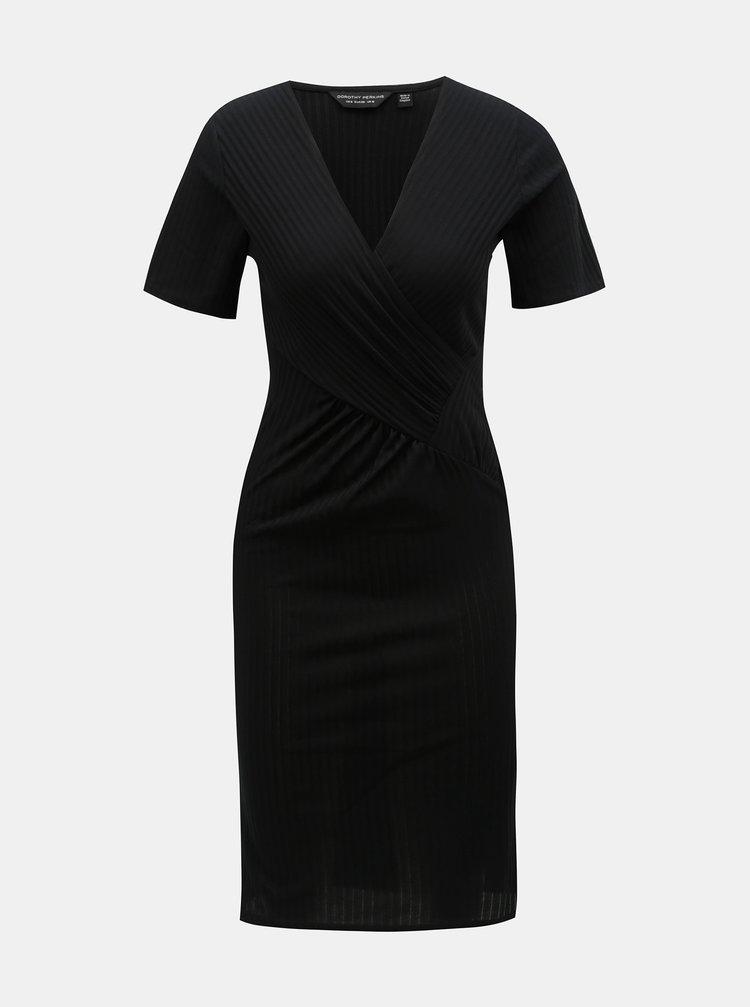 Černé žebrované šaty s překládaným výstřihem Dorothy Perkins