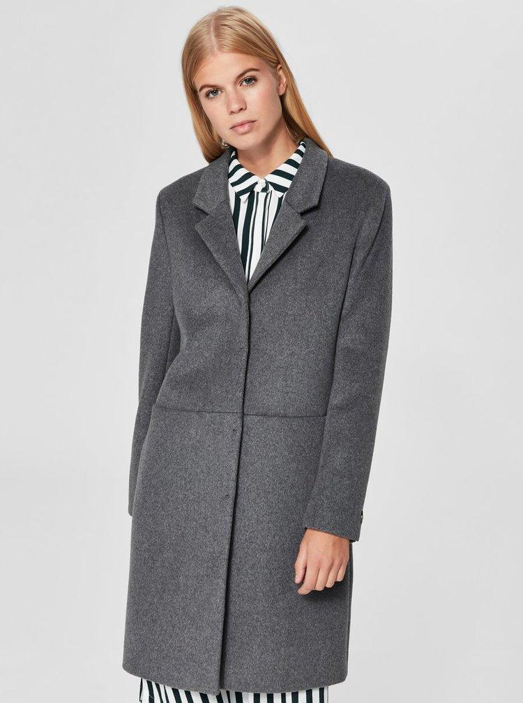 Pardesiu gri din lana Selected Femme Boa
