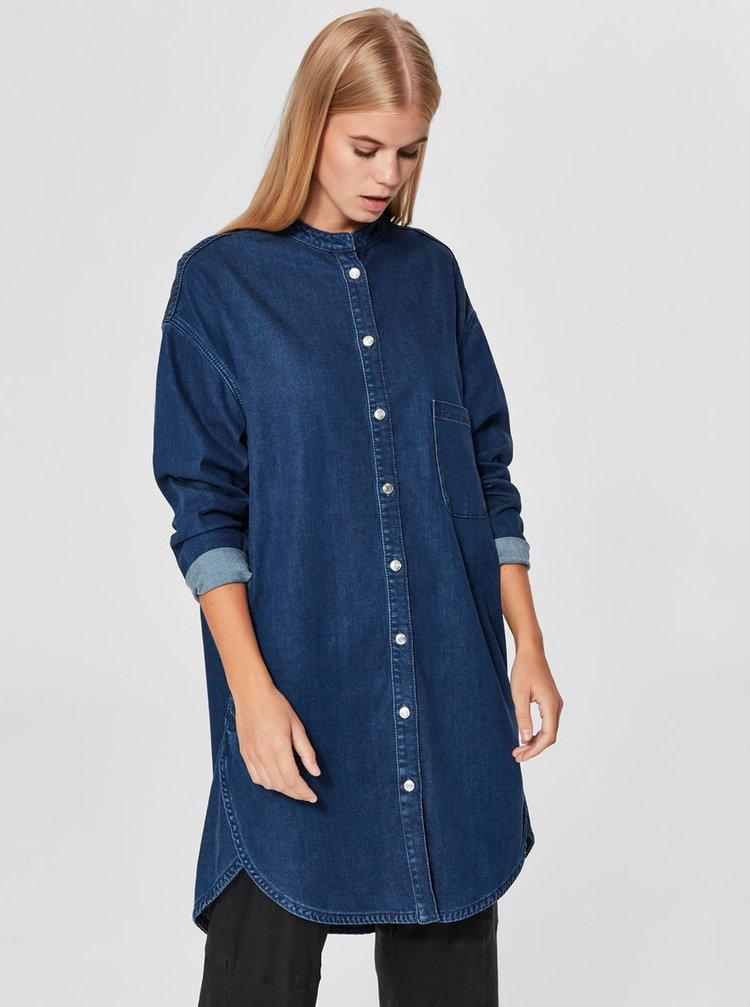 Tmavě modré košilové džínové šaty s náprsní kapsou Selected Femme Stef
