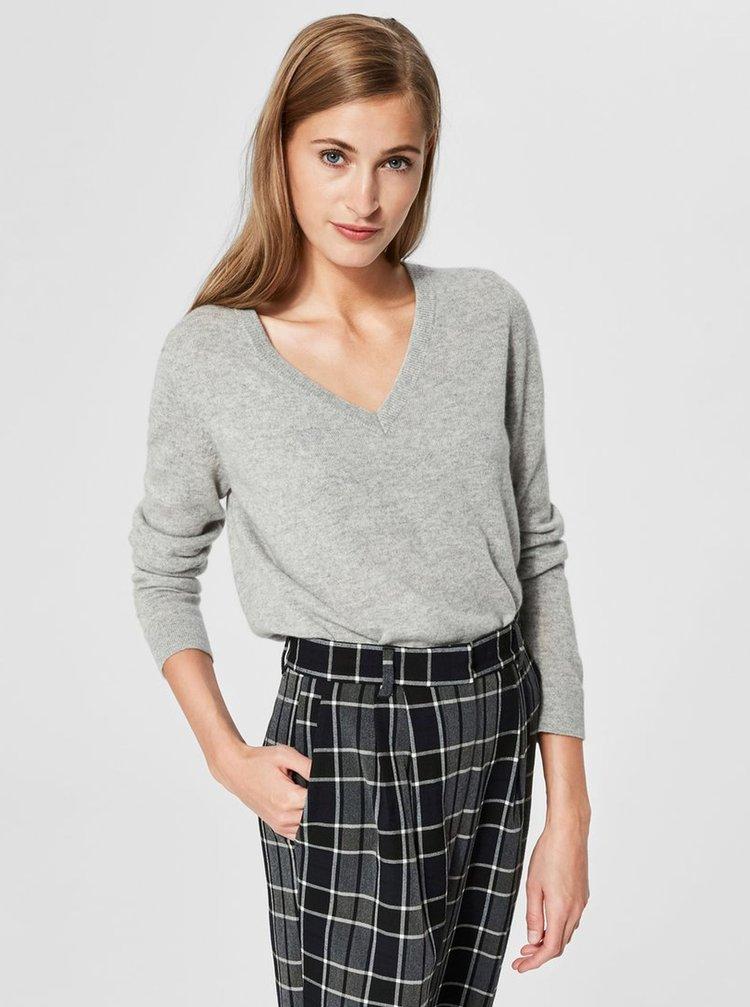 Sivý melírovaný kašmírový sveter Selected Femme Faya