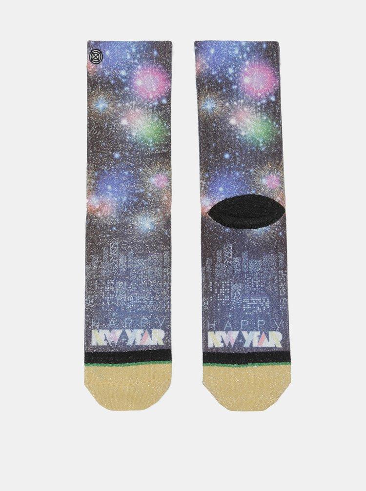 Černo-modré dámské ponožky s motivem ohňostroje XPOOOS