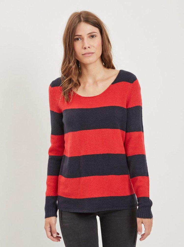 Červeno–modrý pruhovaný sveter VILA Katay