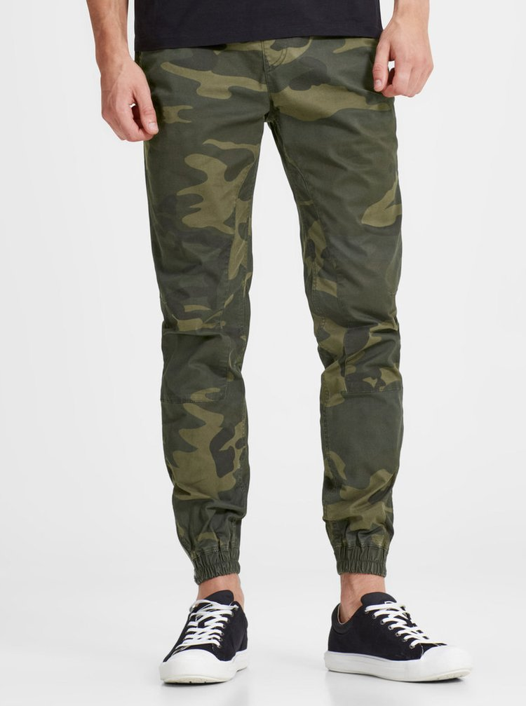 Pantaloni verde inchis cu print camuflaj - Jack & Jones Vega