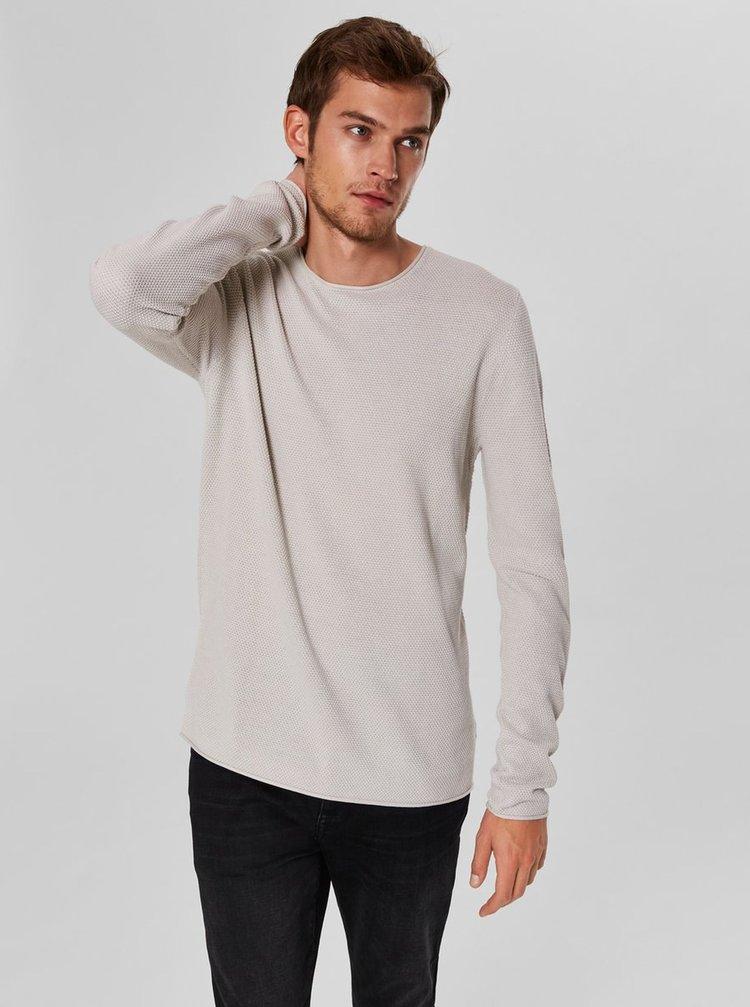 Béžový basic svetr s dlouhým rukávem Selected Homme Rocky