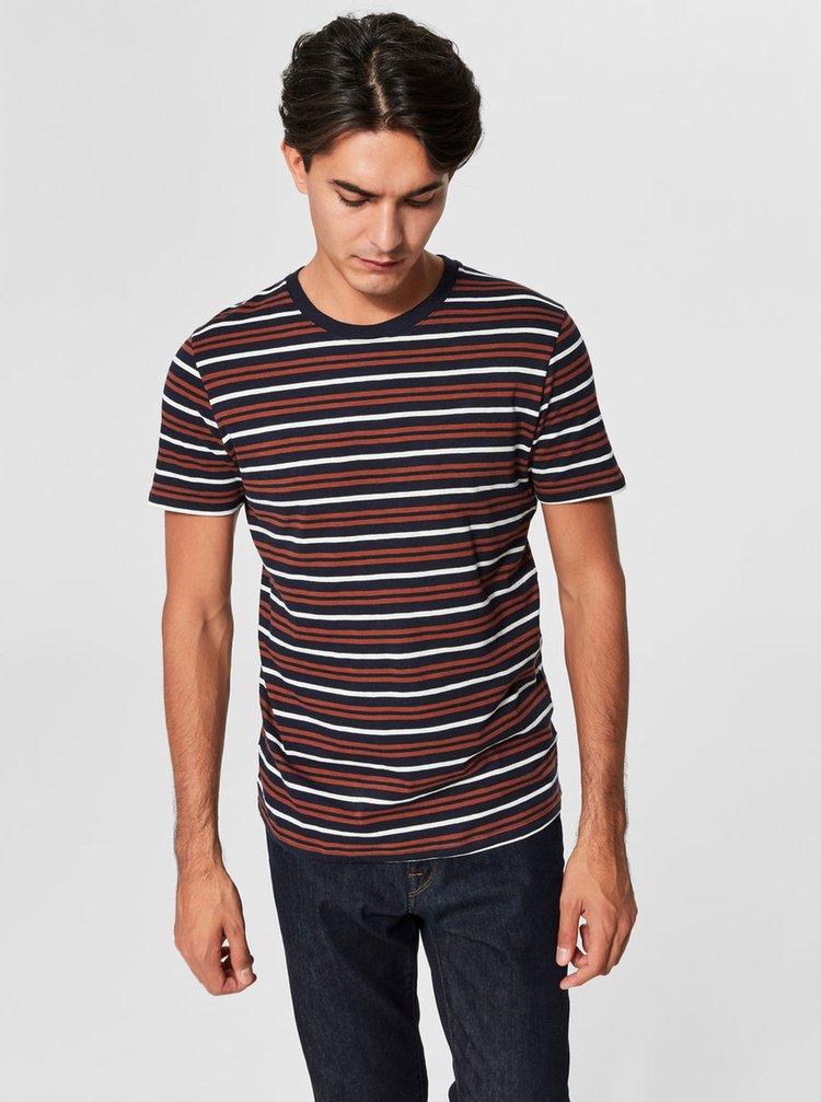 Hnědo-modré pruhované tričko Selected Homme Bruno