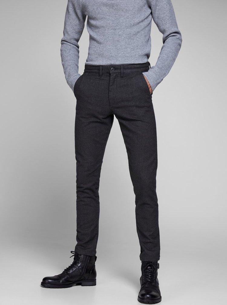 Pantaloni gri inchis chino slim fit Jack & Jones