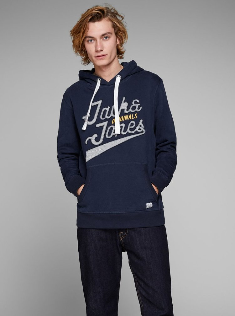 Hanorac albastru inchis cu logo Jack & Jones