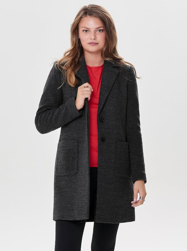 Tmavě šedý lehký kabát s příměsí vlny ONLY
