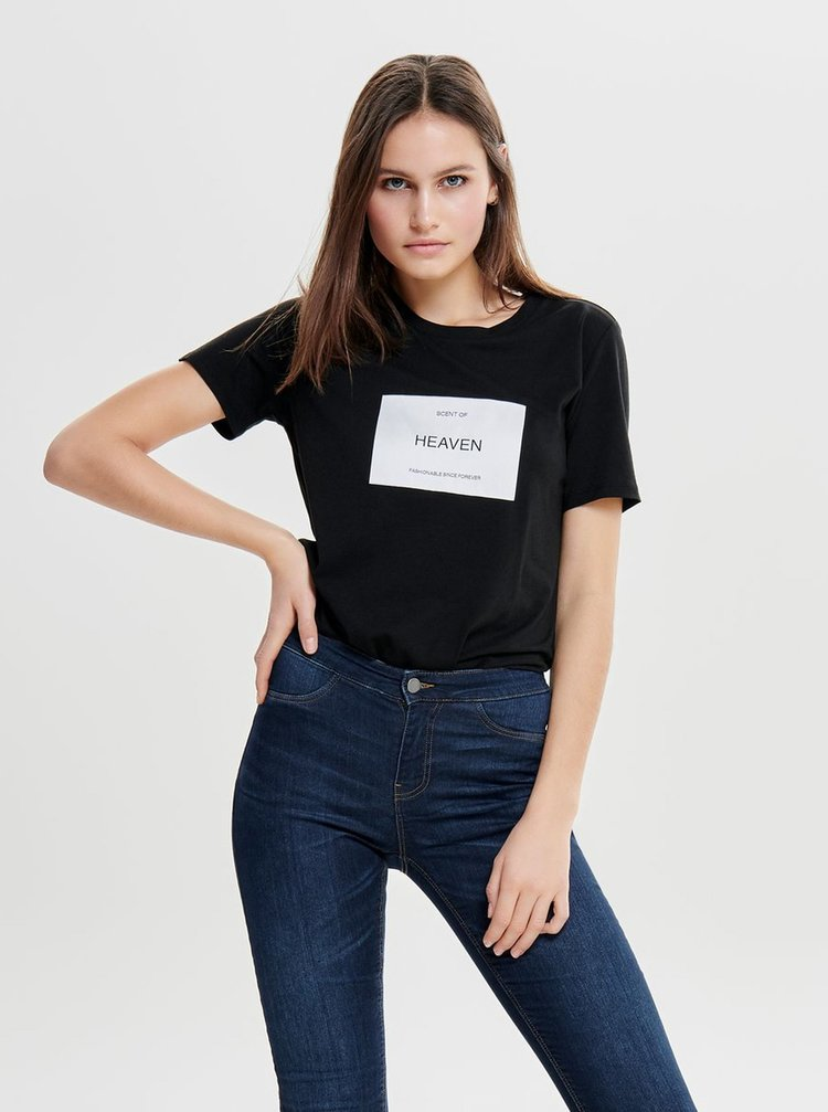 Tricou negru cu broderie ONLY Lux
