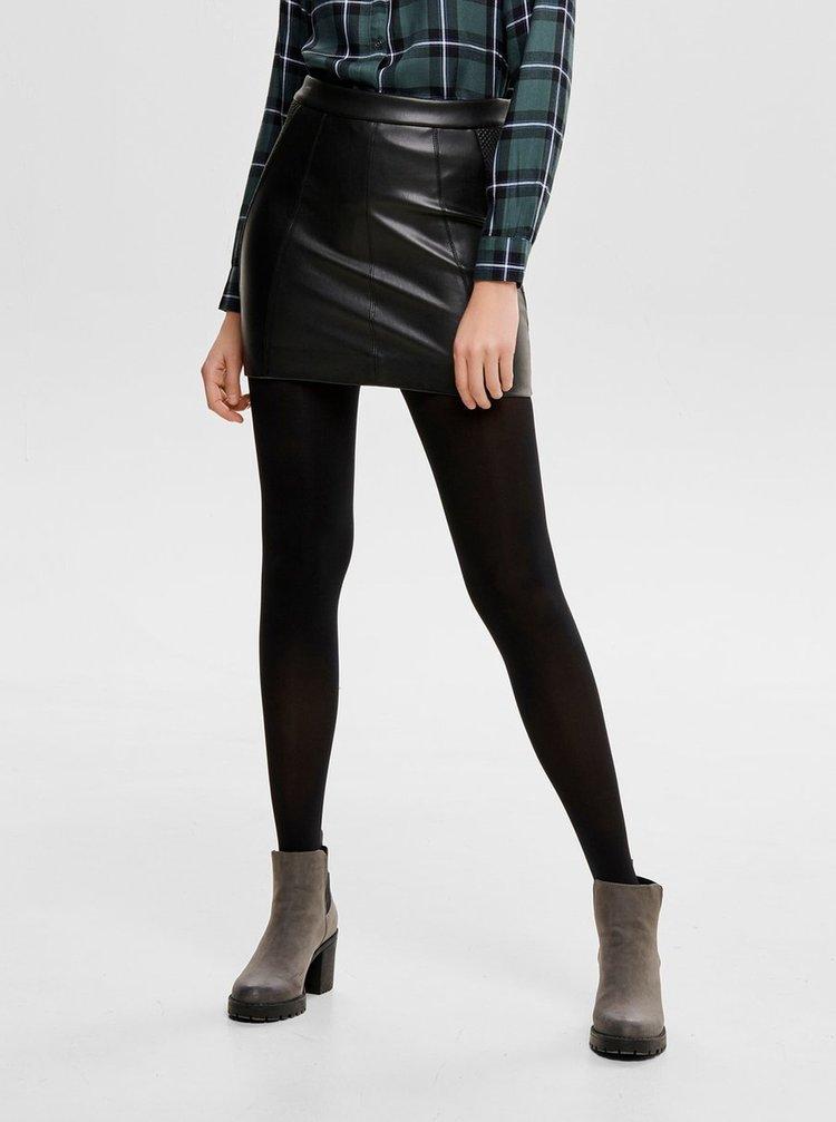 Černá koženková pouzdrová sukně ONLY
