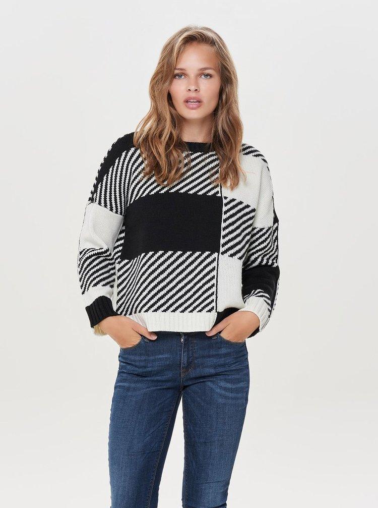 Bílo-černý vzorovaný svetr ONLY Kasey