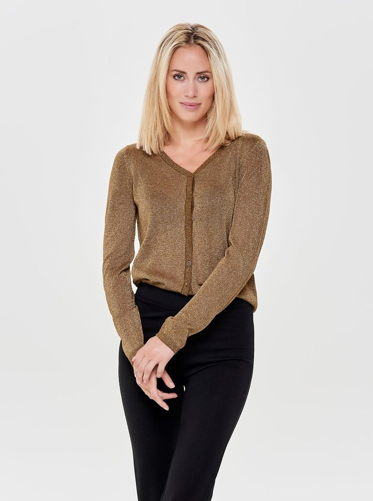 Cardigan maro cu fibre metalice ONLY Darling