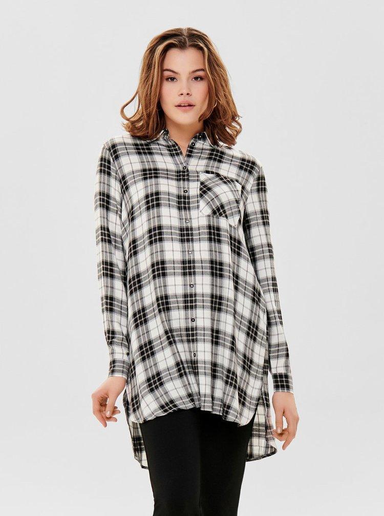 Černo-bílá dlouhá kostkovaná košile ONLY