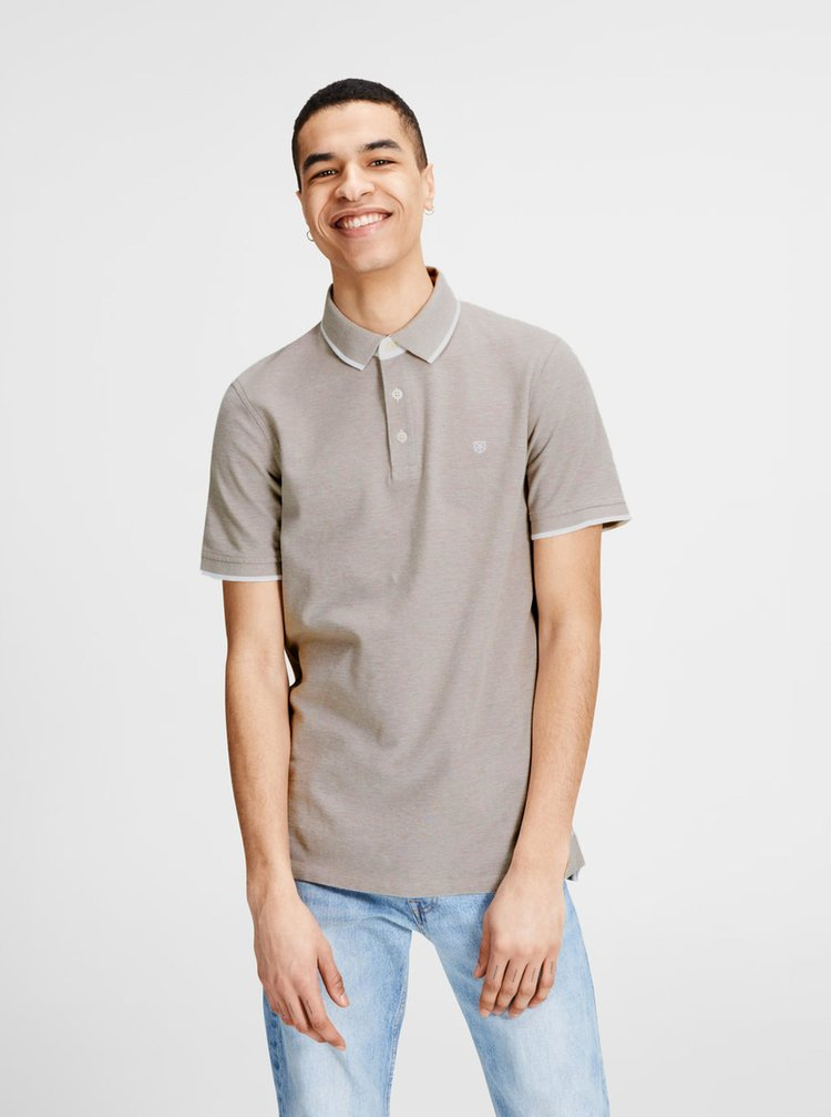 Tricou polo bej Jack & Jones Paulos