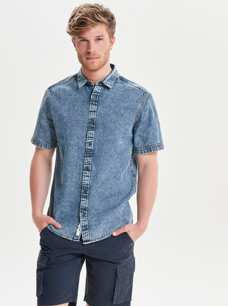 Camasa din denim cu maneca scurta si aspect prespalat -  ONLY & SONS Nathan
