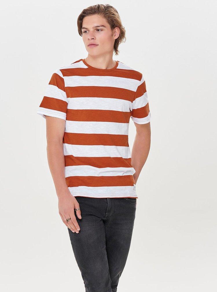 Bílo-hnědé pruhované basic tričko ONLY & SONS Dontell