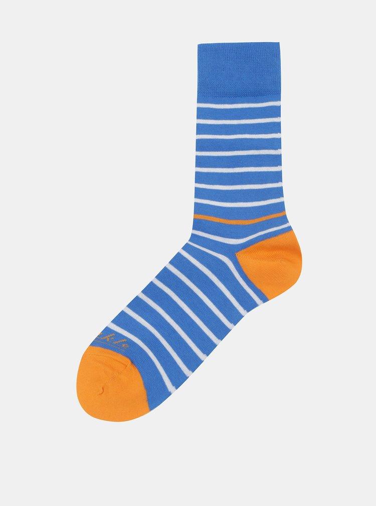 Modro-oranžové pruhované ponožky Fusakle Páskavec konzervatívny