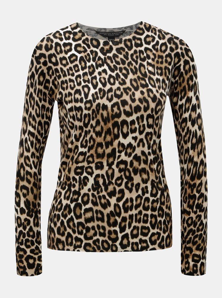 Černo-hnědý svetr s leopardím vzorem Dorothy Perkins