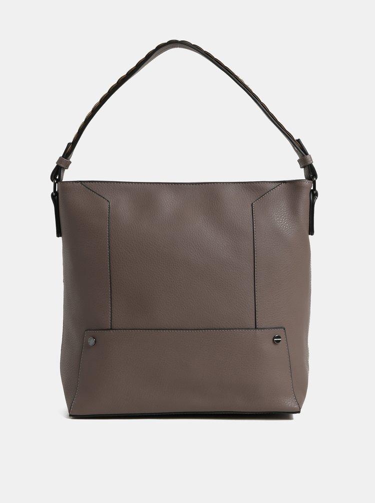 Hnědá velká kabelka s kovovými detaily Dorothy Perkins