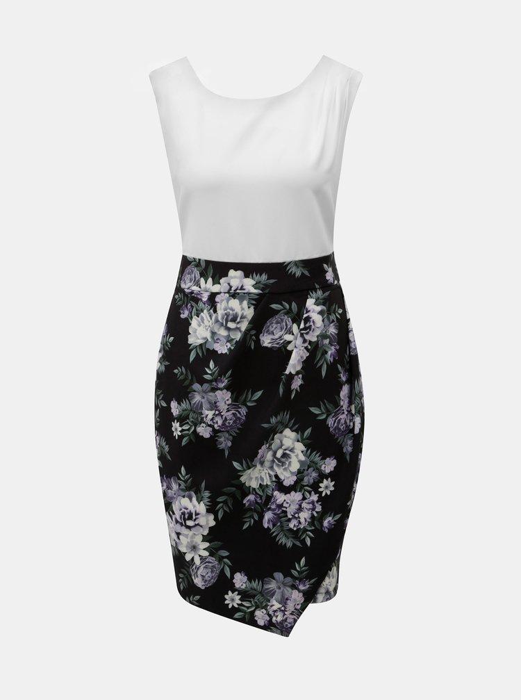 Bílo-černé květované šaty se zavazováním Apricot