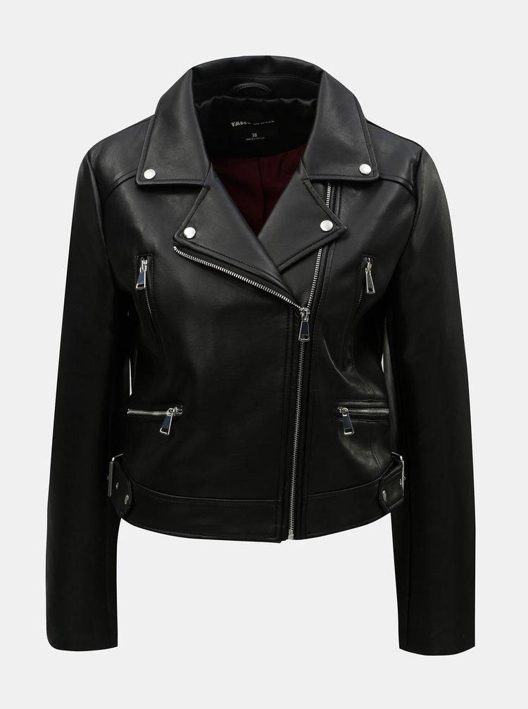 Jacheta biker scurta neagra din piele sintetica TALLY WEiJL