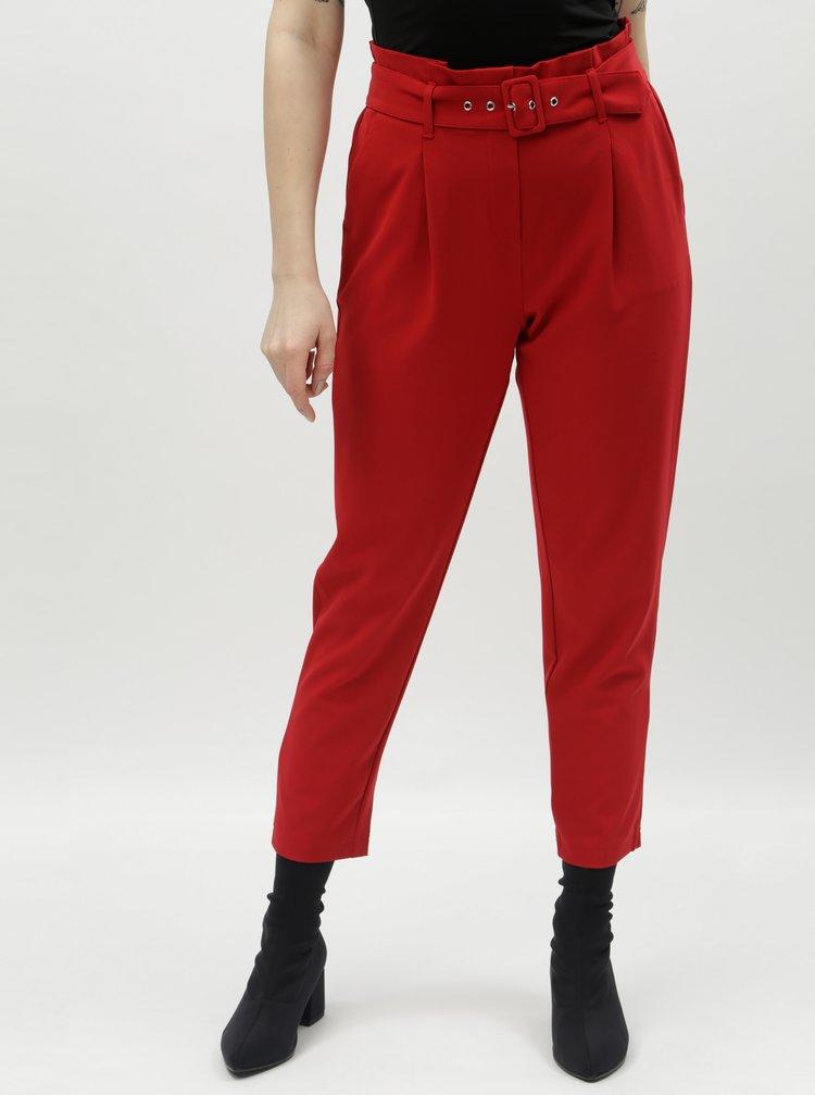 Červené zkrácené kalhoty s vysokým pasem TALLY WEiJL