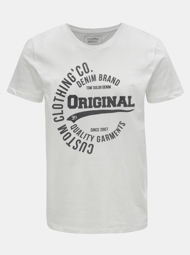 Biele pánske tričko s potlačou Tom Tailor Denim