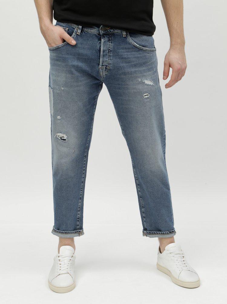 Modré džíny se záplatou Selected Homme Cropped