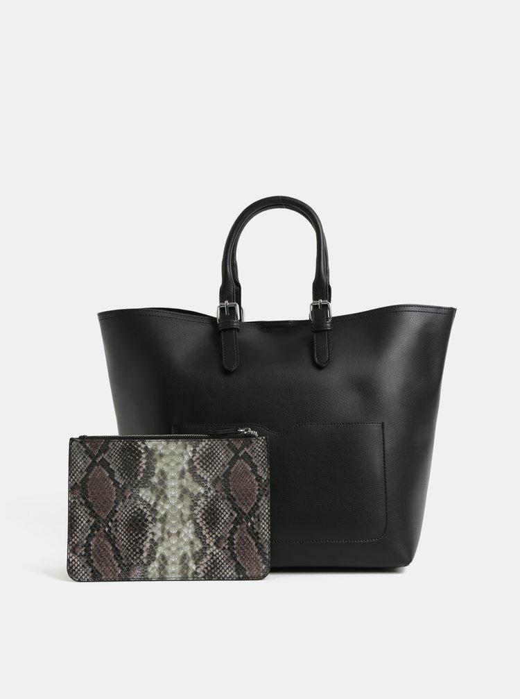 Čierny shopper s odnímateľným puzdrom 2v1 Pieces Faria