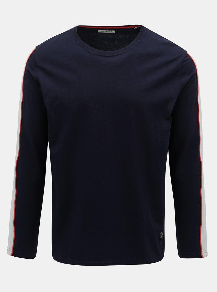 Tmavě modré tričko s pruhem na rukávu Shine Original Track