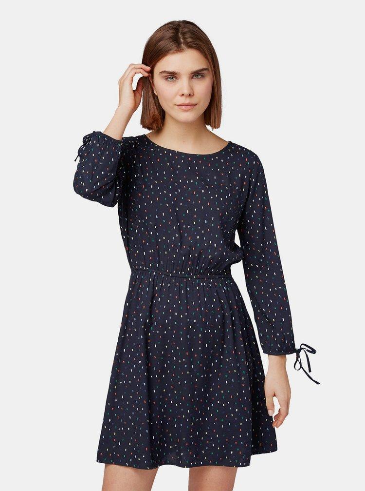 Tmavomodré vzorované šaty s gumou v páse Tom Tailor Denim