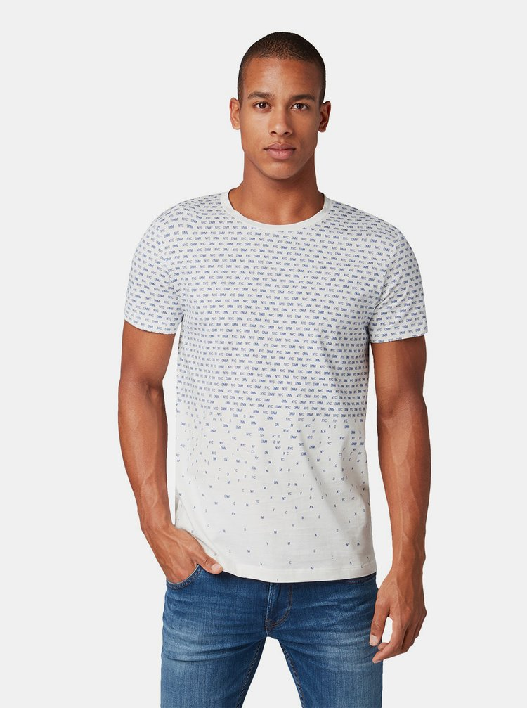 Tricou barbatesc alb cu imprimeu discret Tom Tailor Denim